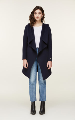 SAMIA double-face wool coat with hood