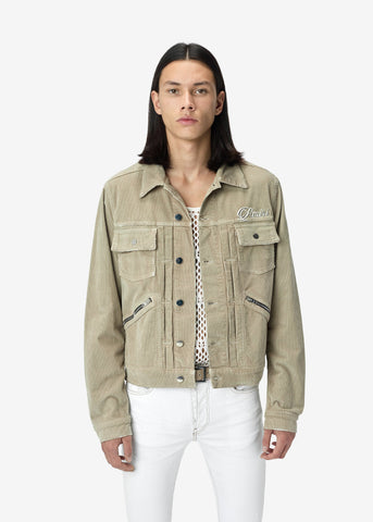 EMBROIDERED CORDUROY JACKET SAND