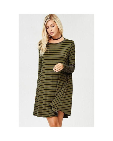 Olive & Black Jersey Long Sleeve Stripe Tunic Dress with Pockets