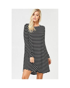 Ivory & Black Jersey Long Sleeve Stripe Tunic Dress with Pockets