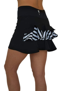 NEW! Ruffle Butt Golf Skirt - Black with Striped Middle Ruffle