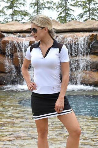 NEW! Striped Hem Golf Skirt - Black with White Stripes