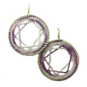 Purple and White Circle with Star Crochet Earring - STXE09