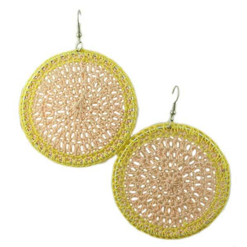 Peach and Yellow Crochet Circle Earring - STXE11