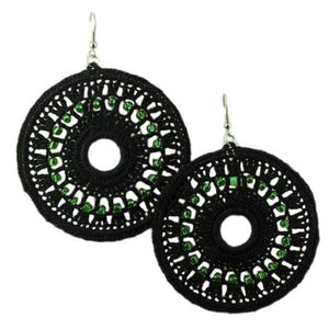Black Large Crochet Circle with Green Beads Earring - STXE12