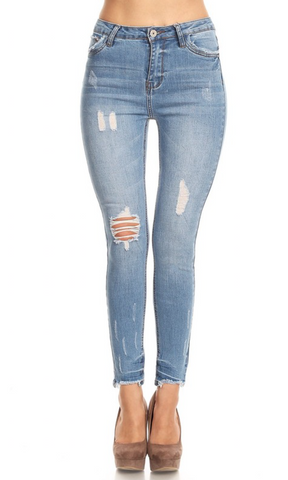 Ariana - High Rise Distressed Skinny Jeans