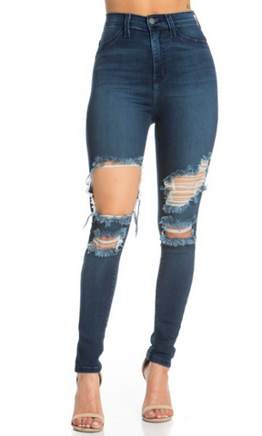 Mila - High Rise Distressed Skinny Jeans