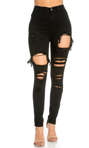 Gigi - Black High Rise Distressed Skinny Jeans