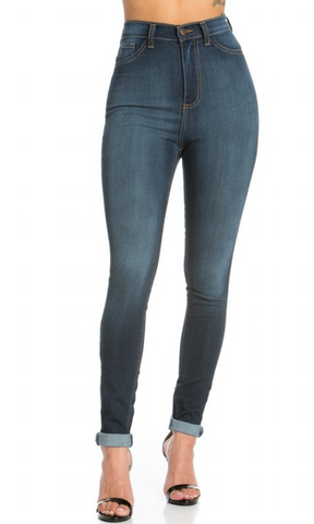 Cindy - High Rise Dark Wash Skinny Jeans