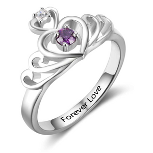 Birthstone Engraved Silver Ring
