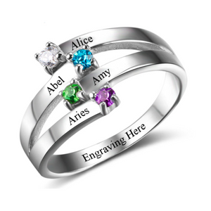 Birthstone & Engraved Silver Ring