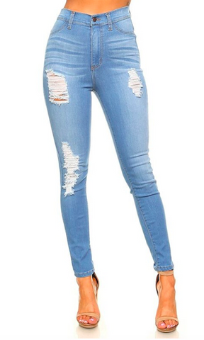 'Koko' High Rise Distressed Denim Jeans