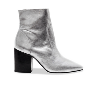 BLACK SUEDE STUDIO ~ BONNIE LEATHER BOOTIE ~ SILVER