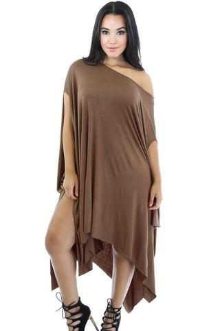 Sexy Dark Khaki Asymmetrical Draped Tunic Dress