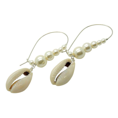 COWRIE SHELL CHARM PEARL HOOP EARRINGS