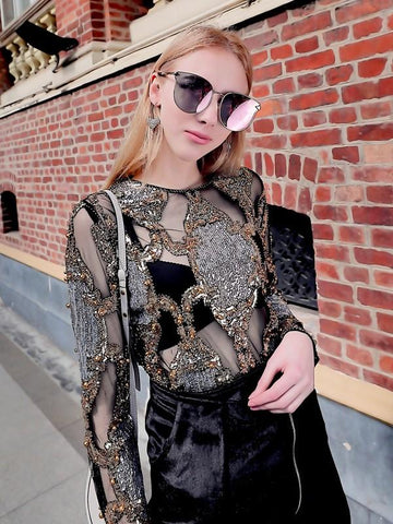 Intricate Sequin Design Mesh Top