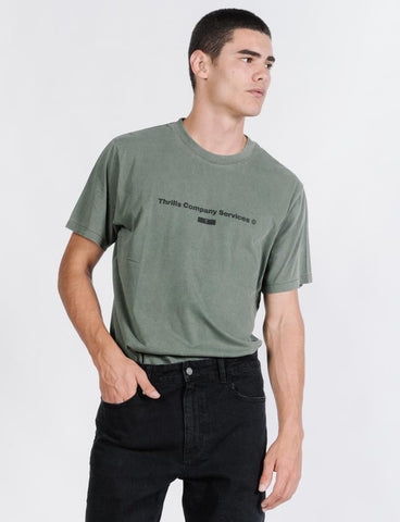 THRILLS COMPANY SERVICES MERCH FIT TEE - ARMY GREEN