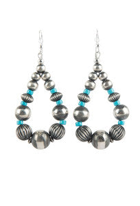 TURQUOISE MOON LARGE STERLING SILVER AND TURQUOISE BEAD HOOP EARRINGS