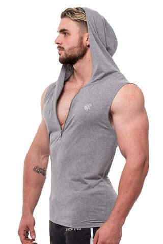 Presto Fitted Sleeveless Hoodie - Gray