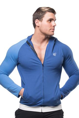 Split Zip-Up Hoodie - Cobalt Blue