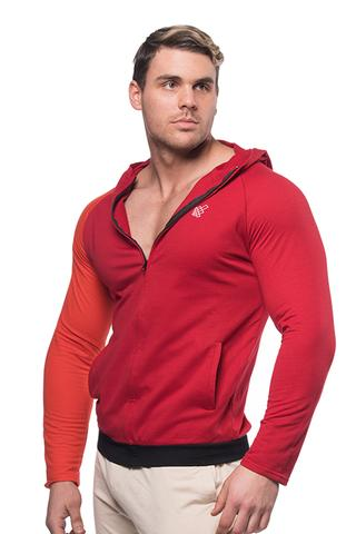 Split Zip-Up Hoodie - Crimson Red