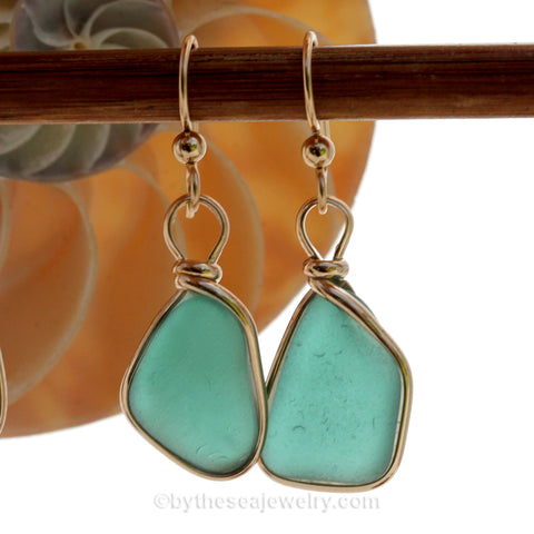 LARGE Vivid Turquoise Genuine Sea Glass Earrings In 14K Goldfilled Original Bezel Wire©