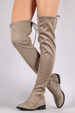 QUPID SUEDE BACK LACE-UP OVER-THE-KNEE RIDING BOOTS