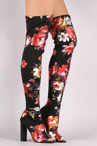 FLORAL ACCENT CHUNKY HEELED OVER-THE-KNEE BOOTS