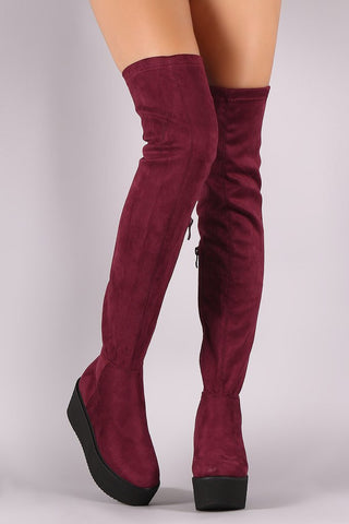 FAUX SUEDE THIGH HIGH LUG SOLE FLATFORM BOOTS