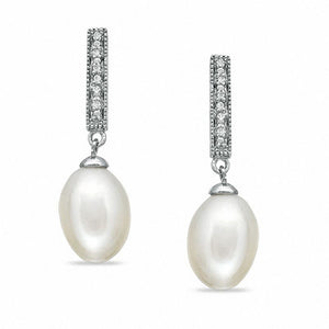 7.5-8.0mm Oval-Shaped Cultured Freshwater Pearl and Diamond Accent Stick Drop Earrings in Sterling Silver