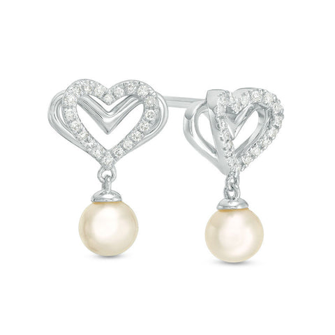The Kindred Heart from Vera Wang Love Collection Cultured Freshwater Pearl and Diamond Drop Earrings in Sterling Silver