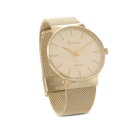 Gold or Silvertone Mesh Unisex Watch