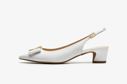 Patent Leather Slingback Heels with Detail - White