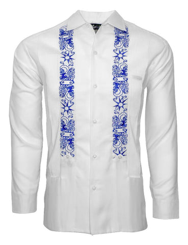 LUX LINEN WHITE CLOUDS WITH BLUE STARS GUAYABERA