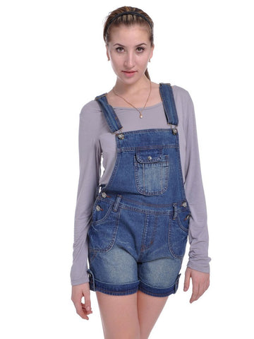 Anna-Kaci Vintage Faded Overalls Folded Cuff Shorts