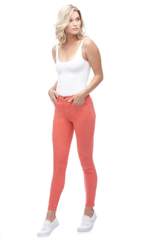 "YOGA JEANS RACHEL SKINNY 27"" ANKLE – CORAL BLUSH"