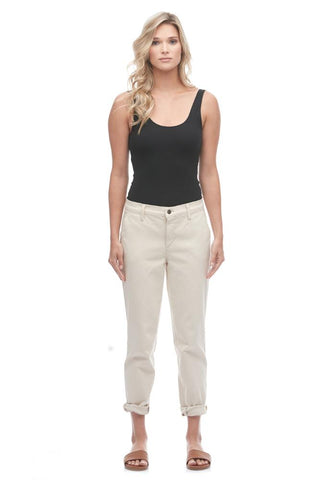 "YOGA JEANS MALIA RELAXED SLIM CROPPED CHINO 28"" - TAPIOCA"
