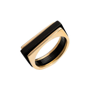 BRASS/PERSPEX STACKING RINGS IN BLACK