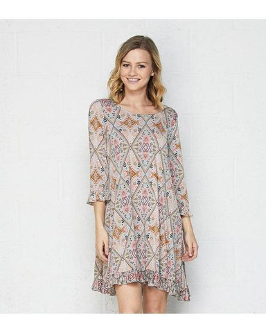 Easy Does It Print Dress with 3/4 Sleeves with Ruffle Detail