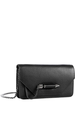 ZOEY-C DUAL LEATHER MINI CROSSBODY BAG IN BLACK