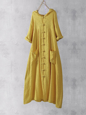 Retro Frog Button 3/4 Sleeve Pockets Hooded Chinese Maxi Dress - Green 16