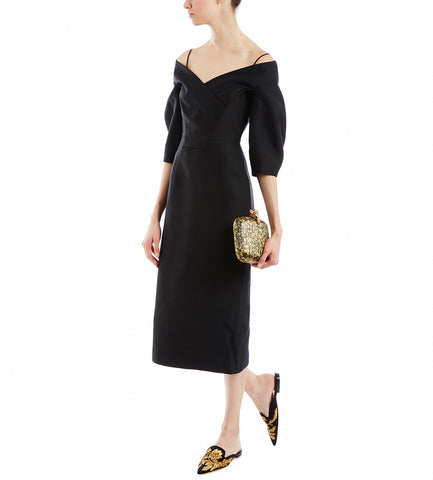ALBERTA FERRETTI BLACK OFF THE SHOULDER DRESS