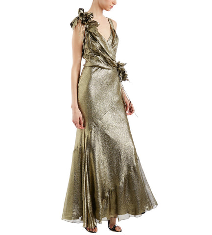 ALBERTA FERRETTI GOLD METALLIC GOWN