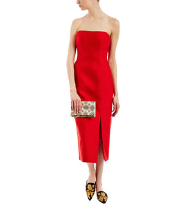 ALBERTA FERRETTI RED STRAPLESS DRESS