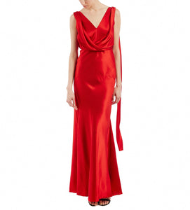 ALBERTA FERRETTI DRAPED RED V-NECK GOWN