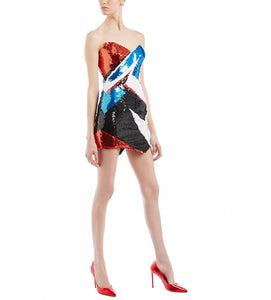 ALEXANDRE VAUTHIER FLASH SEQUINS STRAPLESS DRESS
