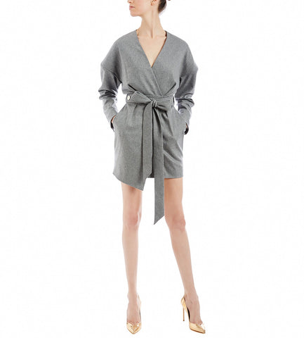 ALEXANDRE VAUTHIER GREY WOOL WRAP DRESS