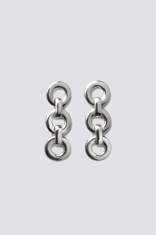 SILVER SMALL CIRCLE DROP EARRINGS