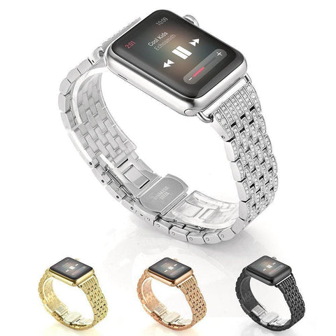 Stainless Steel Crystal Rhinestone Apple Watch Band (38mm/42mm) - 4 colors available