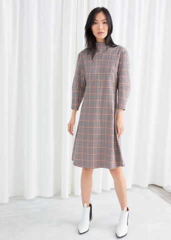 Mock Neck Houndstooth Dress